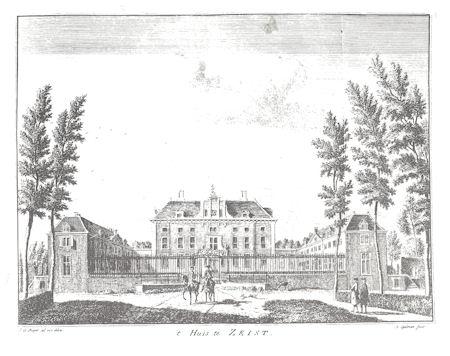 Nadruk van oude prent van Slot Zeist, J. de Beijer